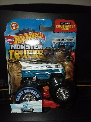 HOT WHEELS 2020 MONSTER TRUCKS VOLKSWAGEN DRAG BUS WITH CRUSHABLE CAR, VHTF!