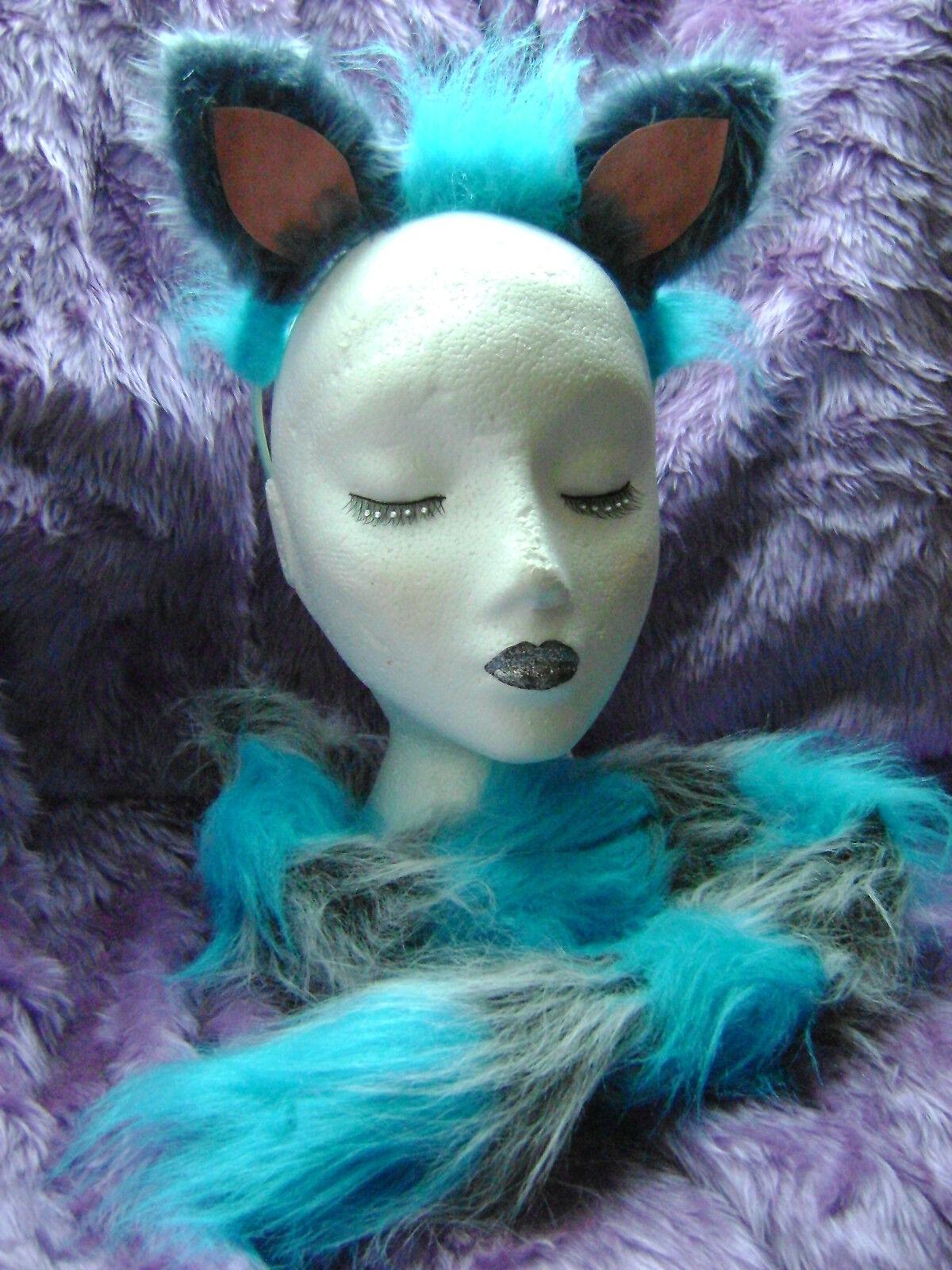 Lo STREGATTO Costume Orecchie E Coda Set Blu /& Grigio Stregatto Costume