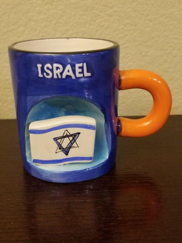 Ora Holyland Ltd. Blue,White & Orange Israel Coffee Mug w/Israeli Flag - Unique!