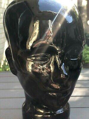 VTG Black Glass Head Bust Mannequin Wig Hat Display Jewelry Countertop Halloween