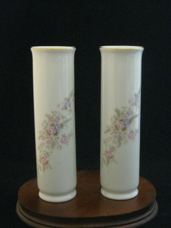 Pair of Floral Lefton Japan Bulb Vases