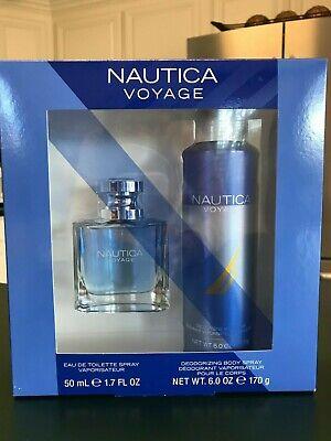 Nautica Voyage Men's Eau De Toilette Spray and Body Spray 2 Pc. Gift  Set New!