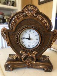 Tabletop Clock Decorative Vintage Shabby Victorian Brown