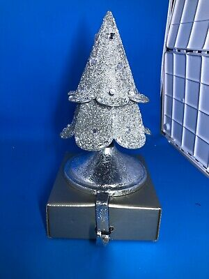Pier 1 Imports Christmas Stocking Holder New SILVER CHRISTMAS TREE GLITTERY ()