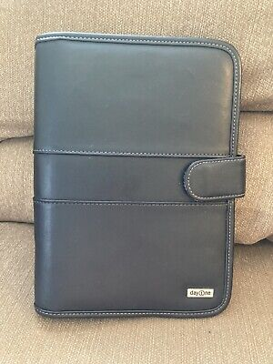 Franklin Covey Day One Black Faux Leather Planner 3 Ring Organizer Binder 9 Inch