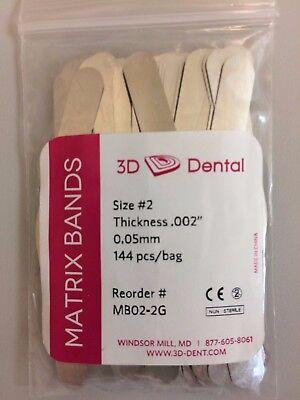 3d Dental Matrix Bands Size 2 Thickness .002 0.05 Mm 144bag