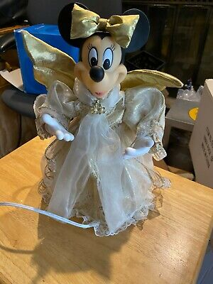 """Disney Minnie Mouse Victorian Tree Topper Christmas w Lights 15"""" Animated"""