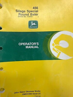 John Deere Operators Manual 456 Silage Special Round Baler Ome91995 Used