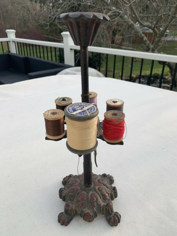 Victorian SEWING STAND One Tier Cast Iron Carousel Thread Spool Holder Org Paint