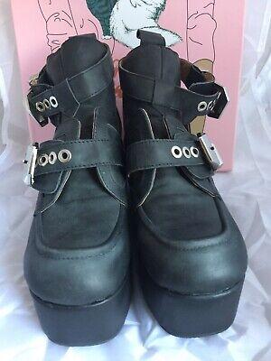 Jeffrey Campbell Platrane Black Boots Sz5/38 Fab Condition!