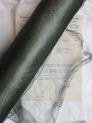 """18"""" Antique Vintage UNUSED Dark Green French Metallic Mesh Tricotene Victorian"""