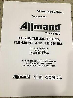 Allmand Operators Manual Tlb 220 225 325 425 Esl 535 Esl Backhoe Back Hoe