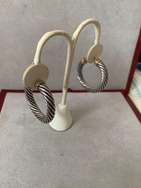 Vintage Hoop Cable Earrings Sterling And 14 Karat Gold