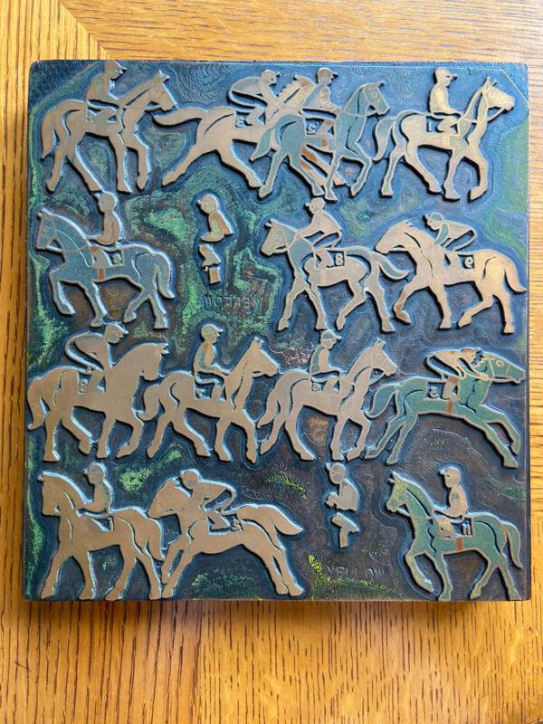 Vintage Printing Letterpress Printers Block, Stamp-Race horses with jockey-Large