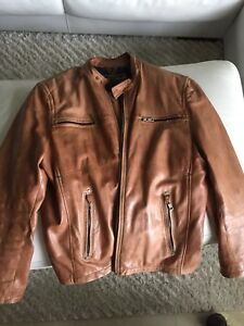 Men's Leather Motorcycle Jacket Andrew MARC XXL