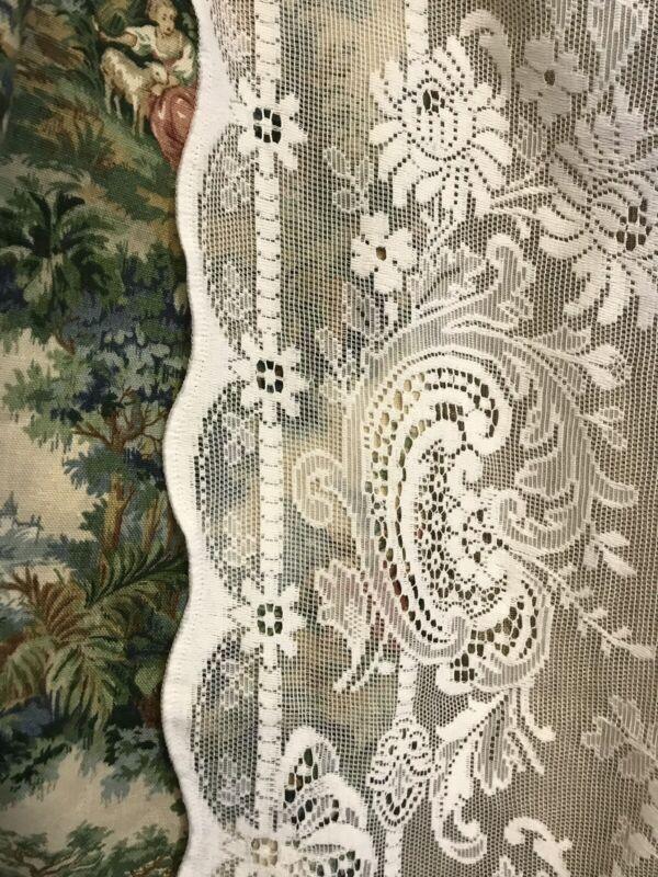 "Beautiful Floral Scallops Heritage Cream cotton lace curtain panel 58""/62"""