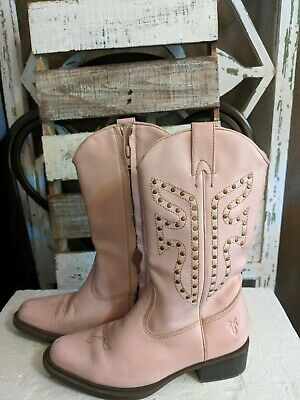 Frye 97000 Lil Daisy Duke Western Cowboy Zip Studded Boots Kids Girls 2 1/2 M