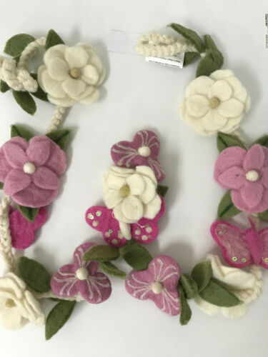 Pottery Barn Kids Felted Wool Floral Garland NEW Nursery Decor