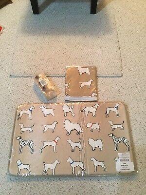 Dog Lover's K9 Fabric Shower Curtain/Hooks/Memory Foam Rug. Tan. All Breeds. NWT