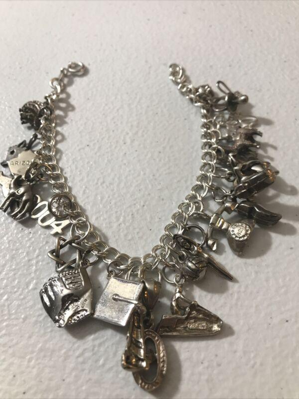 Vintage Sterling Silver Charm Bracelet Travel Teen Swim Softball  Camel 23 Charm