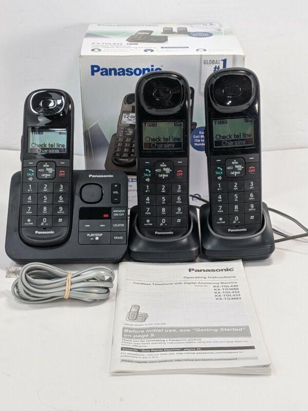 Panasonic KX-TGL433 Cordless telephone answering machine.3 Handsets.WOTKS GREAT!