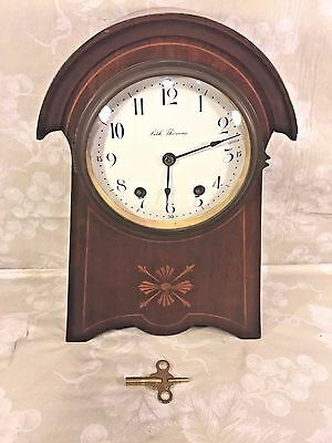 Vintage Seth Thomas Balloon Clock Inlaid Wood Case Runs Strikes Enameled Face