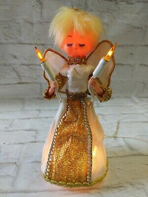 "Vintage Light Up Christmas Angel Tree Topper Blonde Hair Gold Accent 10"" Tall"