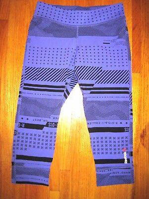 Heavyweight Spandex Tights - Reebok Speedwick Purple Black Spandex Capri Cut Yoga Tights Size Medium New