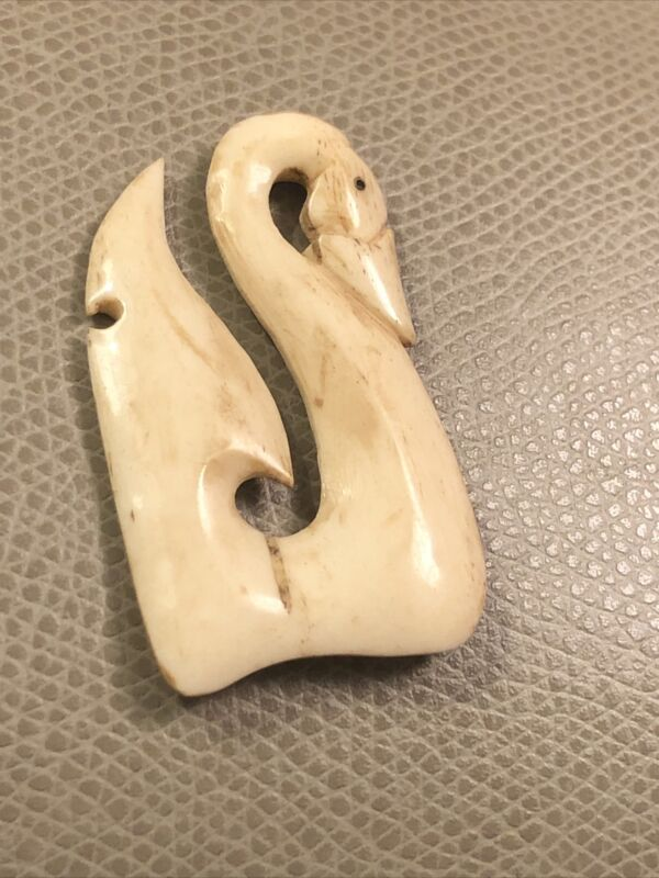 Vintage handwork Buffalo bone Netsuke Necklace Pendant carving