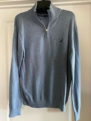 NEW MENS LARGE L NAUTICA BLUE SWEATER JACKET ZIP VERY NICE GIFT GREAT QUALITY