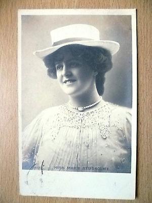 1904 Postcard- Actress MISS MARIE STUDHOLME + Stamp