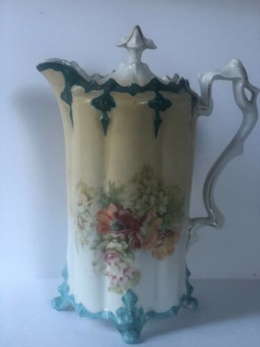 Antique Floral Porcelain Chocolate Pot with Blue and Gold Accents and Lid