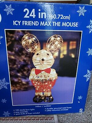 """Vintage Icy Friend Max The Mouse Christmas Outdoor/Indoor Lighted Decoration 24"""""""