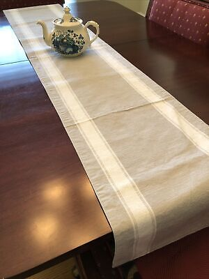 "Table Runner 14""Wx70""L Taupe White Stripe Linen French Country"