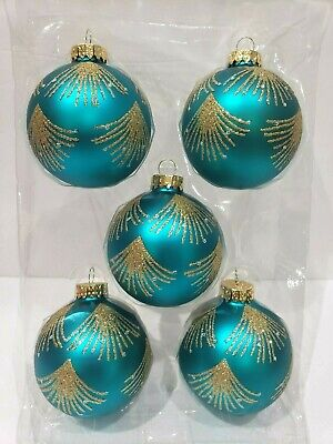 Teal Christmas Ornaments (Peacock Teal Gold Glass Beaded 3