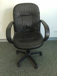 GOOD QUALITY BLACK LEATHER OFFICE CHAIR Frenchs Forest Warringah Area Preview