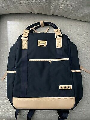 """MASTER-PIECE """"Surpass Ver. 2"""" Backpack in navy blue Cordura and natural leather"""