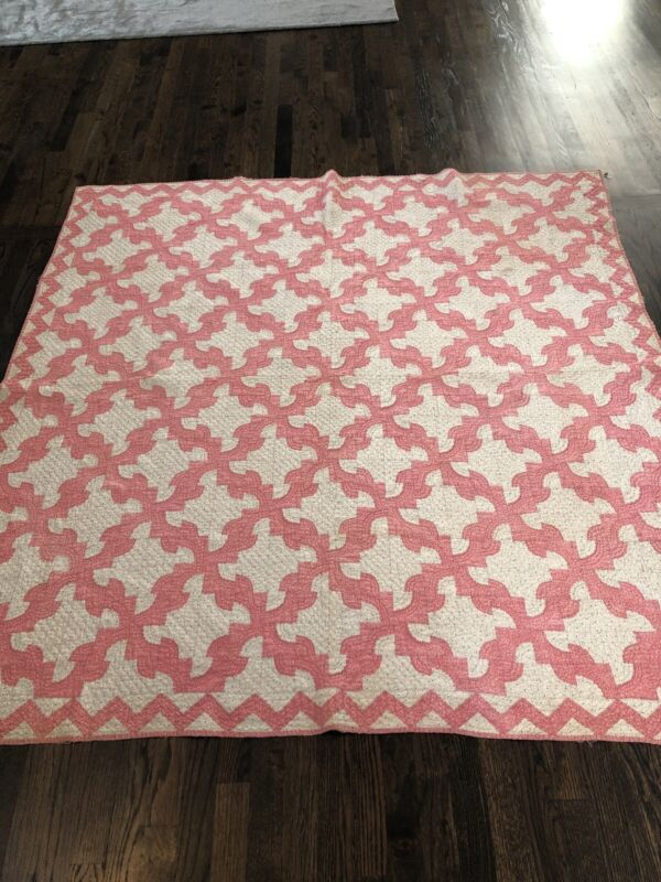 Fabulous Antique 1890s Pink And White Quilt