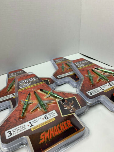 """4 packages Swhacker Mechanical Broadheads Expandable 100 Grain 2"""" Cut"""