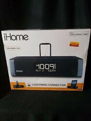 NEW iHome IDL45BC Dual Charging Stereo FM Clock Radio With Lightning Dock & USB