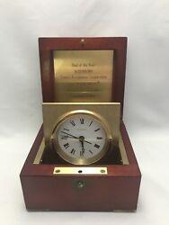 Rare TIFFANY & Co. Swing Desk Clock Mahogany & Brass Box - German Quartz Movt