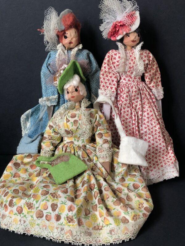 "Lot of 3 Vintage Unidentified Handmade 9"" Wooden Dolls"