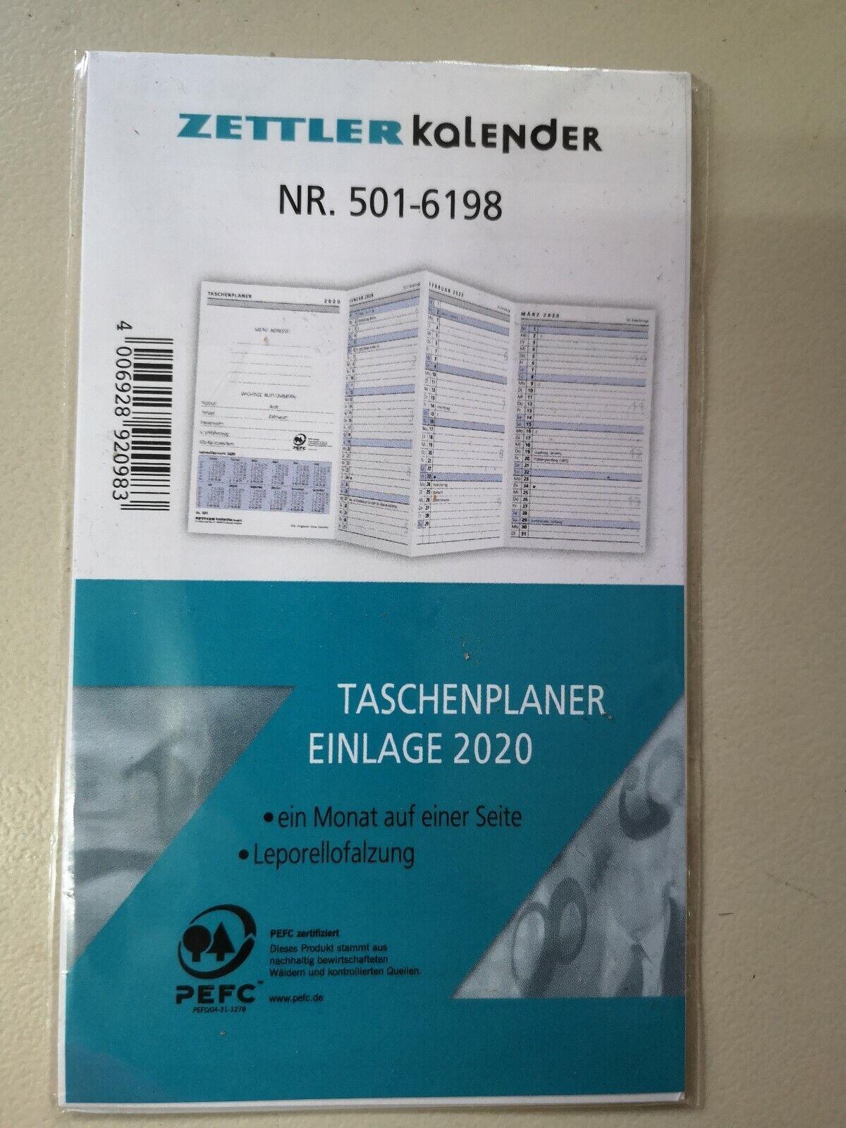 2020 Zettler Taschenplaner Einlage 540-6198 Kalender 1 W// 1 S geheftet
