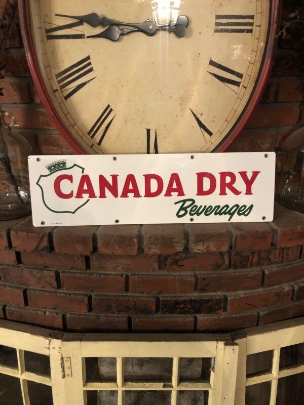 "Near Mint Vintage Canada Dry PORCELAIN SIGN 24""x7"" Soda Beverage Advertising"