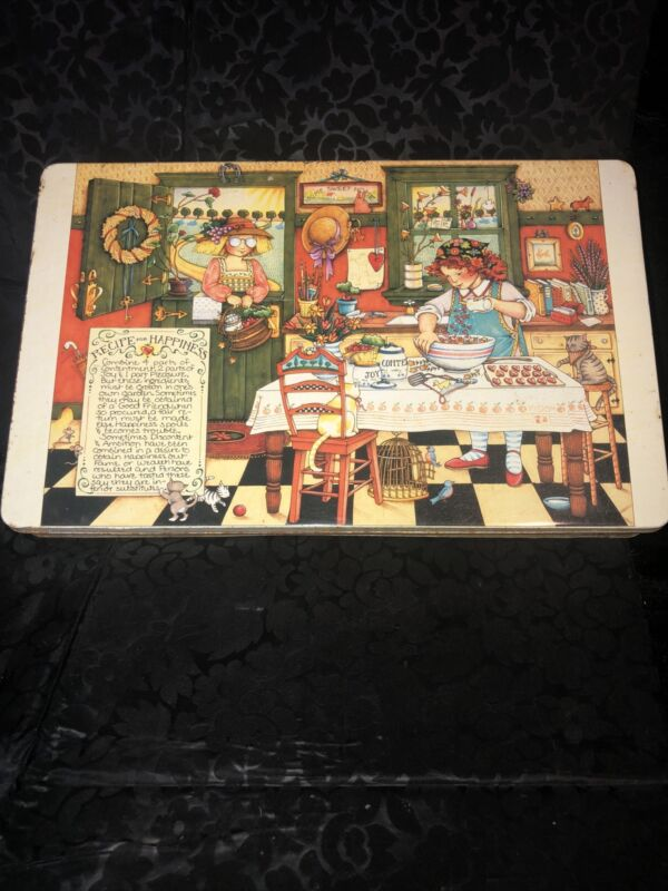 """1987 Mary Engelbreit Recipe For Happiness Vintage Tin 8""""x13""""  Rare !"""