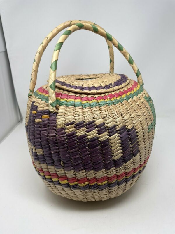 +* Hand Woven Mexican American Round Basket Braided Lid 11x9 Colored Design Cat