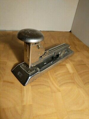 Vintage Chrome Ace Stapler Model Pilot 404 - Industrial Art Deco - Working