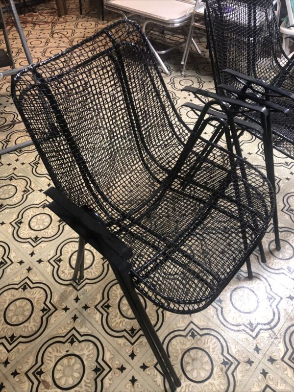 Russell Woodard Set 4 Sculptura Iron Mesh Stacking Patio Dining Chairs