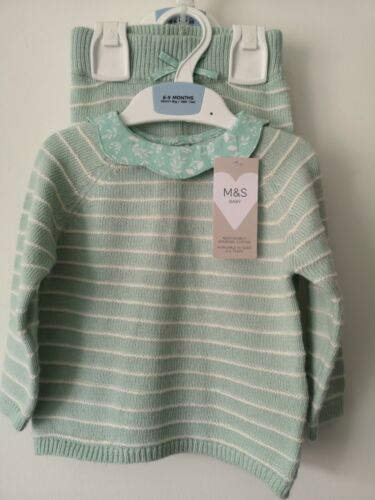 M&S BABY GIRLS 6-9 MONTHS 2 PIECE AQUA GREEN MIX KNITTED BABY SUIT FREE POST