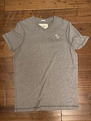 New Abercrombie & Fitch Muscle Fit Men's V-neck T-Shirt, Gray, Size XXL 2XL